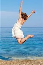 Preview iPhone wallpaper Jumping girl, sea, beach, summer