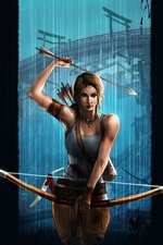 Preview iPhone wallpaper Lara Croft, Tomb Raider, bow, black background