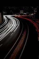 Light lines, road, city, night