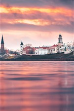 Preview iPhone wallpaper Lithuania, Kaunas, city, river, sunset, red sky