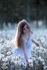 Preview iPhone wallpaper Little girl and dandelions, child, summer