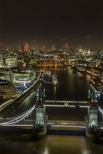 Preview iPhone wallpaper London, Tower Bridge, lights, river, city, England