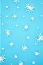 Muitos flocos de neve brancos, fundo azul