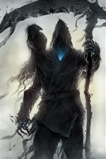 Preview iPhone wallpaper Monster, reaper, raven, art picture