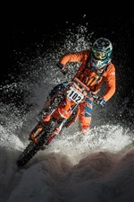 Preview iPhone wallpaper Motorcycle, race, snow, night