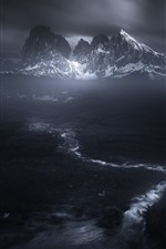 Preview iPhone wallpaper Mountains, darkness, snow