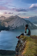 Preview iPhone wallpaper Mountains, lake, trees, girl, Canada