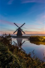 Netherlands, windmill, river, fog, morning, lights