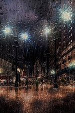 Preview iPhone wallpaper New York, night, street, heavy rain, lights, USA