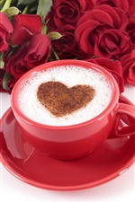 Preview iPhone wallpaper One cup of coffee, love heart, red roses, romantic