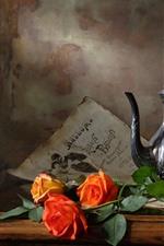 Preview iPhone wallpaper Orange rose, wine, kettle, still life