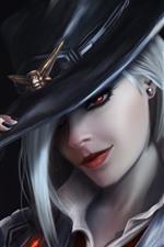 Overwatch, menina, cabelos brancos, chapéu, imagens de arte