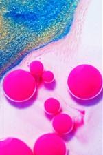 Pintura, bolas coloridas, rosa, desenho abstrato