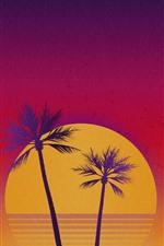 Palmeiras, mar, pôr do sol, céu, imagens de arte
