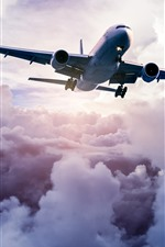 Preview iPhone wallpaper Passenger airplane, sky, thick clouds