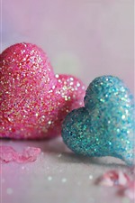 Preview iPhone wallpaper Pink and blue love hearts, shine, romantic