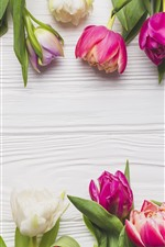 Preview iPhone wallpaper Pink tulips, wood board