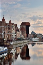 Polônia, Gdansk, rio, casas, cidade