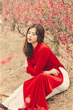 Preview iPhone wallpaper Red dress Chinese girl, pink flowers, trees, spring