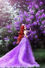 Preview iPhone wallpaper Red hair girl, purple skirt, purple flowers, art photography