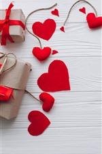 Corações de amor vermelho, presente, decoração