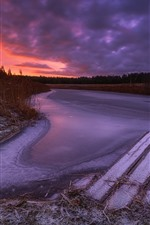 Preview iPhone wallpaper River, winter, ice, frozen, dusk