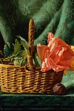Preview iPhone wallpaper Rose, basket, plums, painting