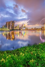 iPhone обои Сингапур, небоскребы, река, ночь, огни, облака