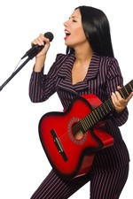 Preview iPhone wallpaper Singer, girl, microphone, guitar, white background