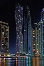 Preview iPhone wallpaper Skyscrapers, Dubai, night, city, river, lights
