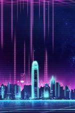 iPhone обои Небоскребы, город, Гонконг, ночь, креативная картинка