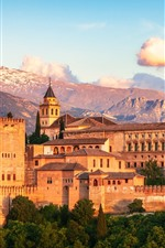 Preview iPhone wallpaper Spain, Granada, Alhambra, city, houses, mountains
