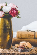 Preview iPhone wallpaper Still life, roses, books, cake, towel