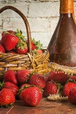 Preview iPhone wallpaper Strawberry, crocodile, basket, bottle