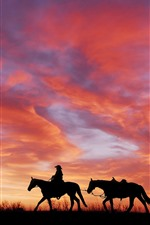 Preview iPhone wallpaper Sunset, red sky, horses, silhouette