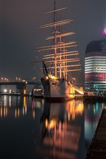Preview iPhone wallpaper Sweden, Gothenburg, river, night, bridge, lights, ship