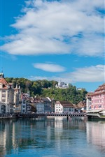 Switzerland, city, river, buildings, castle, blue sky
