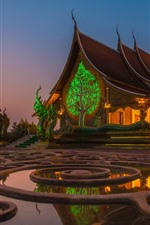 Preview iPhone wallpaper Thailand, temple, night, starry