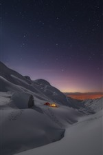 Preview iPhone wallpaper Thick snow, tent, night, stars, winter