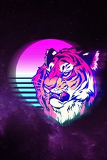 Tiger, face, moon, space, art picture