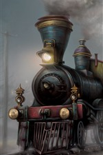 Preview iPhone wallpaper Train, art painting