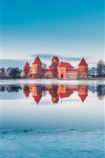 Preview iPhone wallpaper Trakai, Lithuania, castle, lake, snow, ice, winter