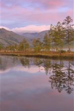 Trees, lake, mountains, pink sky