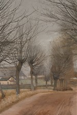 Preview iPhone wallpaper Trees, path, village, art painting