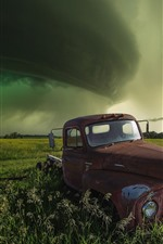 Preview iPhone wallpaper Truck, green fields, clouds, storm