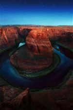 Preview iPhone wallpaper USA, Colorado, Horseshoe Bend, river, starry, nature landscape