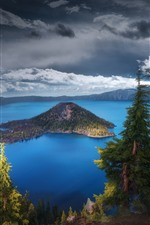 Preview iPhone wallpaper USA, Oregon, Crater Lake, trees, nature landscape