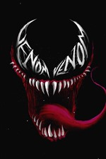 Venom, red tongue, black background