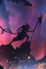 Preview iPhone wallpaper Warrior, mountains, silhouette, art picture