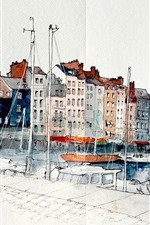 Preview iPhone wallpaper Watercolors, painting, France, Honfleur, Lower Normandy